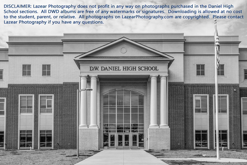 DISCLAIMER: Lazear Photography does not profit in any way on photographs purchased in the Daniel High School sections.  All DWD albums are free of any watermarks or signatures.  Downloading is allowed at no cost to the student, parent, or relative.  All photographs on LazearPhotography.com are copyrighted.  Please contact Lazear Photography if you have any questions.